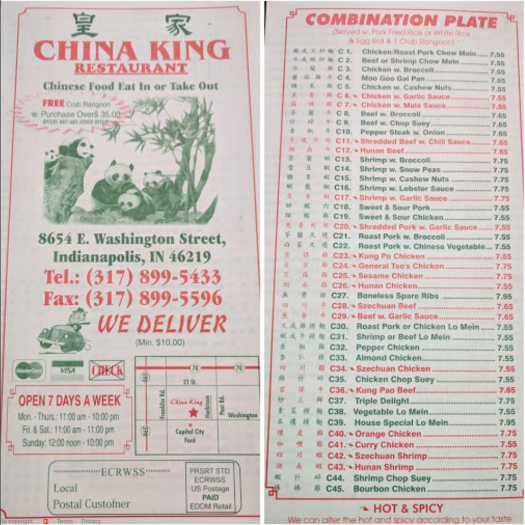 China King Chinese Restaurant Indianapolis In